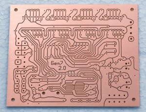An isolation milled Gen7-ARM PCB.