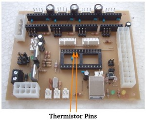 Location of thermistor pins on a Gen7-ARM 2.0