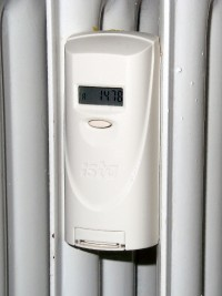 An ISTA consumption counter mounted to a heating radiator.